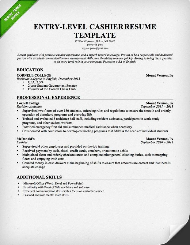 cashier resume sample writing guide genius - Additional Skills For Resume