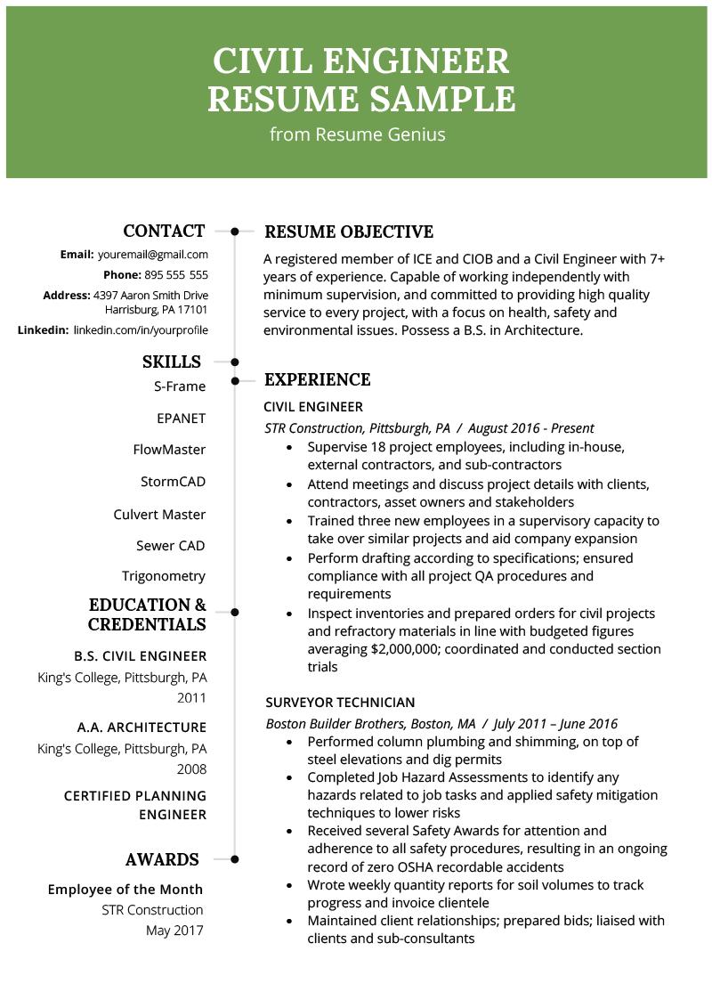 resume headline for civil engineer