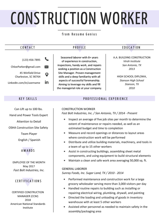 Construction Worker Resume Example & Writing Guide  Resume Genius
