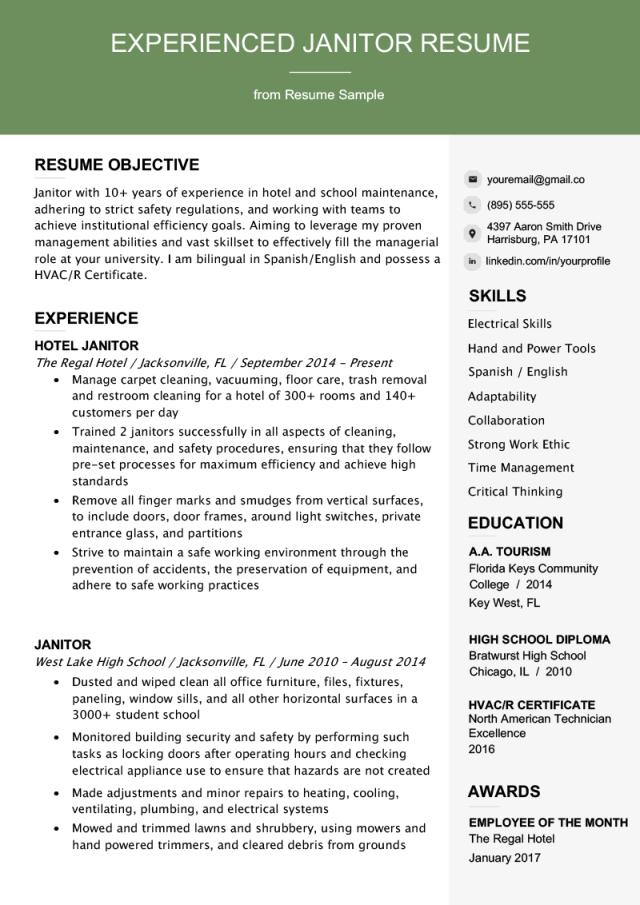 Professional Janitor Resume Sample & Writing Tips  Resume Genius
