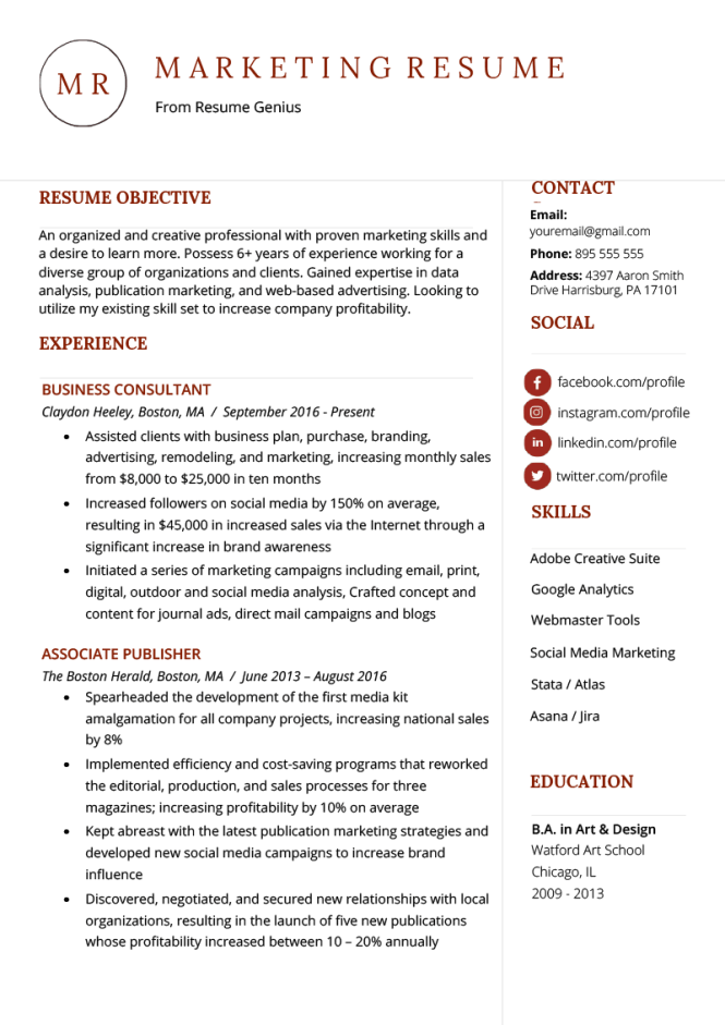 Marketing Resume Sample Writing Tips