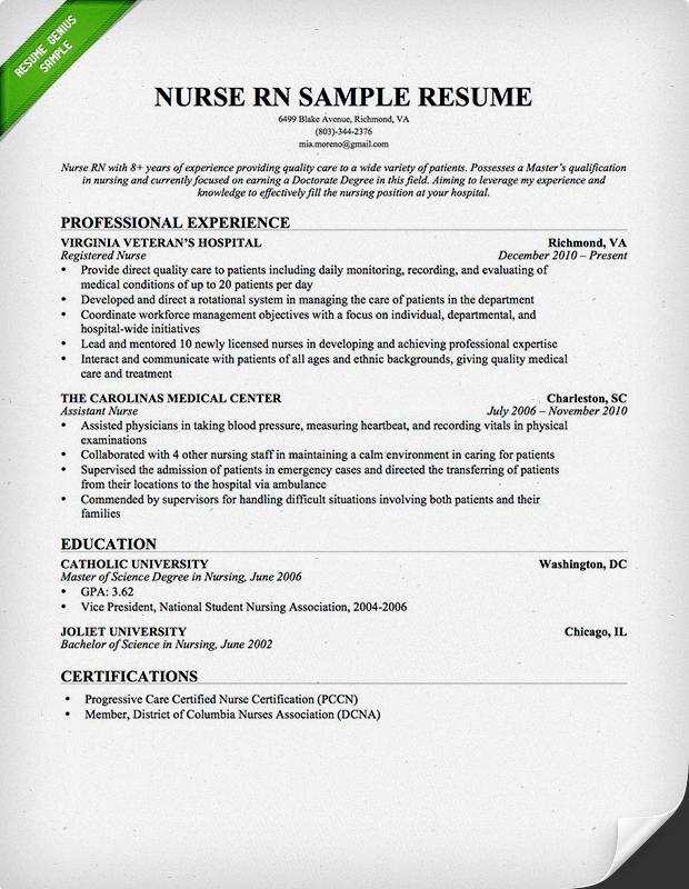Nursing Resume Sample Writing Guide Genius