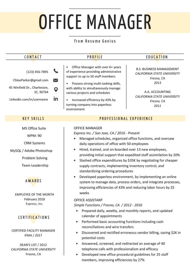 Office Manager Resume Sample Tips