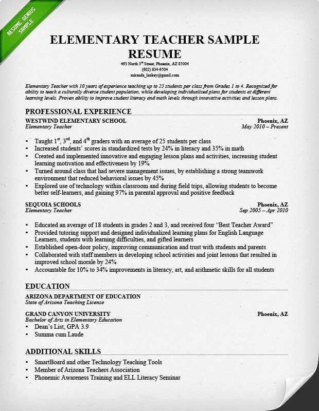 Best Resume Examples For Teachers 90