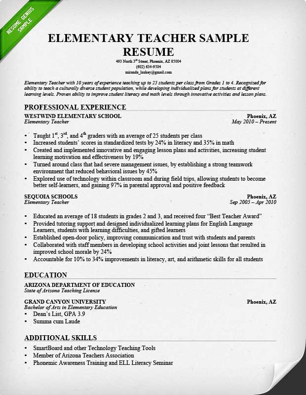 Teacher Resume Samples Writing Guide Genius  Teacher Skills Resume