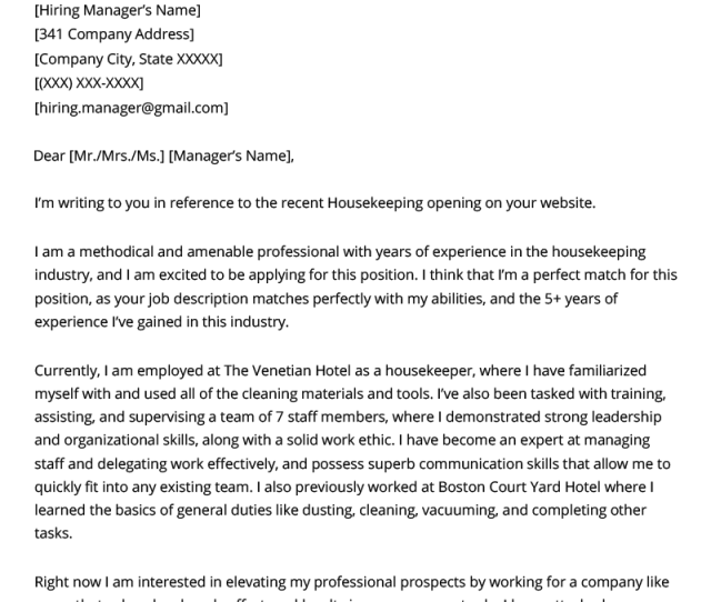 Application Letter In Zambia Format, Housekeeper Experienced Cover Letter Example Template, Application Letter In Zambia Format