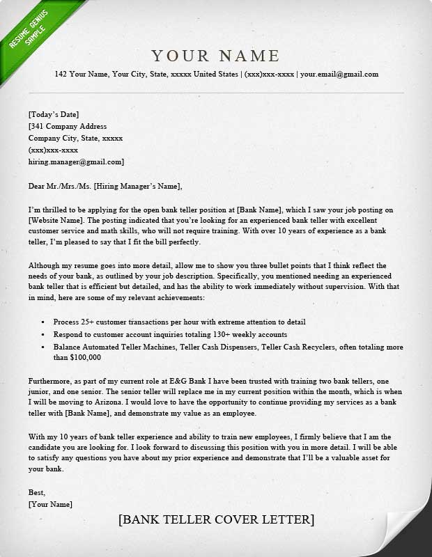 cover letter personal banker position Here are before and after versions of a formal cover letter sample for an entry-level job in finance the tone is quite formal good for.