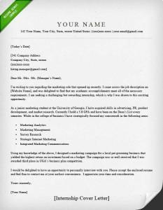 Cover Letter Example Internship Elegant