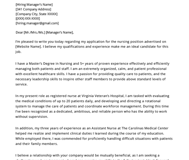 Cover Letter English Receptionist, Nursing Cover Letter Example, Cover Letter English Receptionist