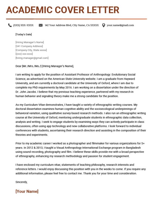 Academic Cover Letter Sample & Writing Tips  Resume Genius
