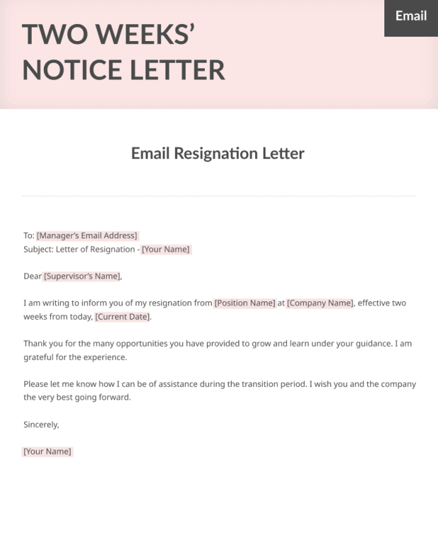 Two Weeks Notice Letter Sample Free