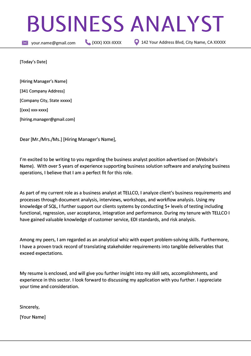 Business Analyst Cover Letter Example Amp Writing Tips Resume Genius