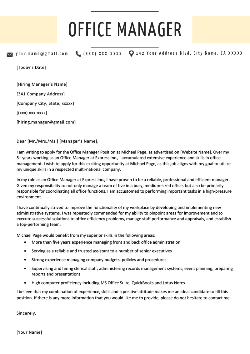 Office Manager Cover Letter Example Amp Writing Tips Resume Genius