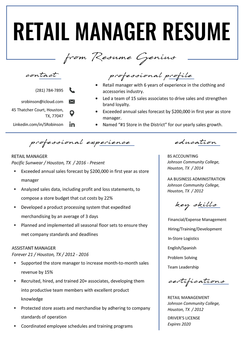 Retail Manager Resume Example Amp Writing Tips Rg