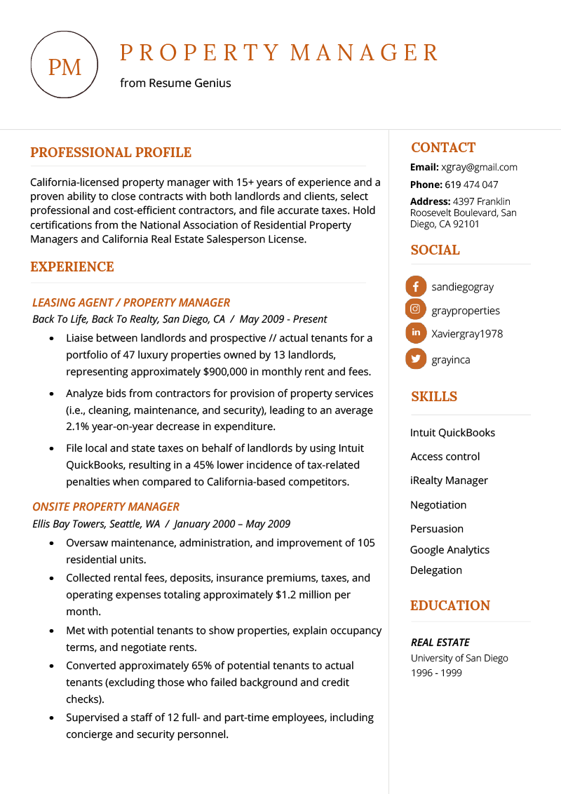 Property Manager Resume Example Amp Writing Tips Resume Genius