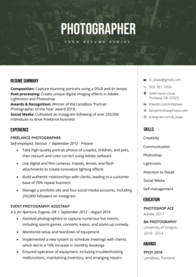 Photographer Cover Letter Example Amp Writing Tips Resume Genius