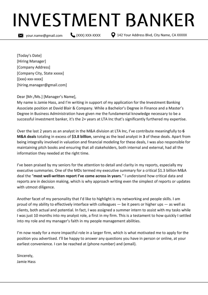 Investment Banking Cover Letter Example Writing Tips