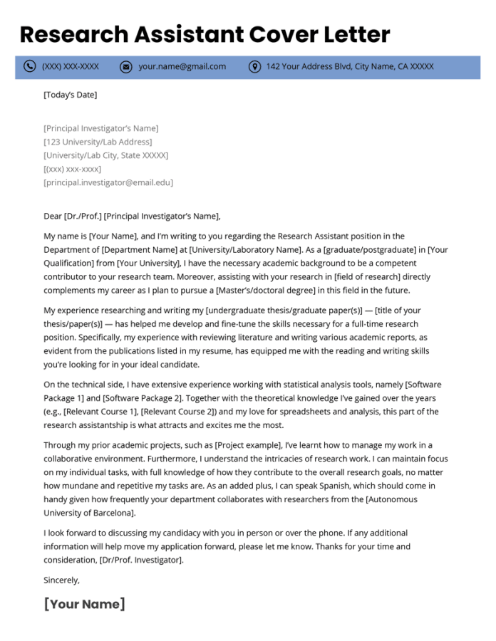 Research Assistant Cover Letter Example Resume Genius