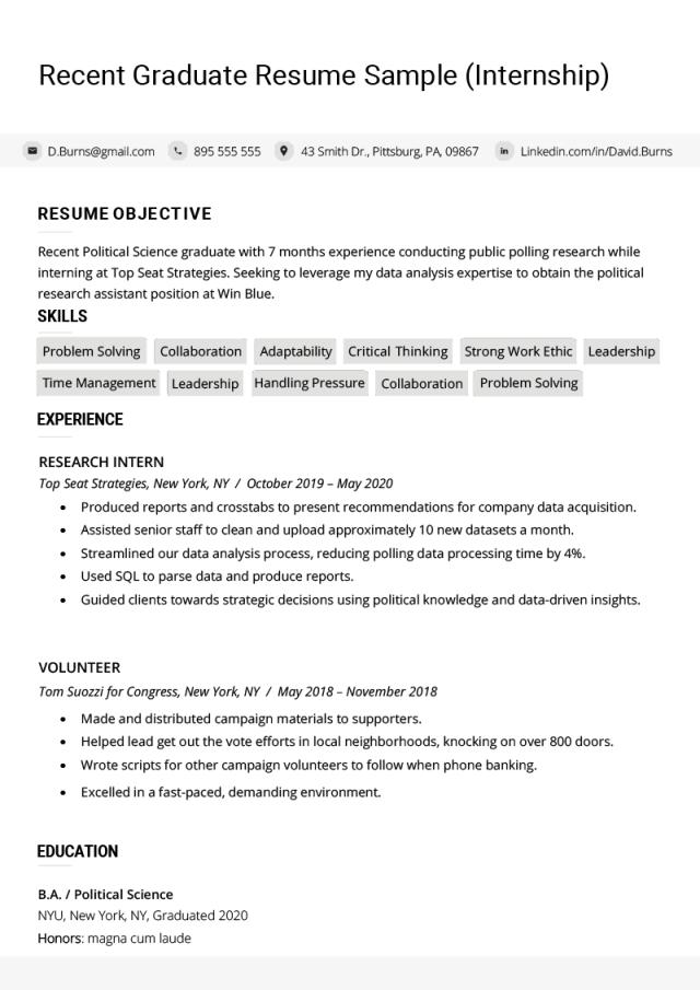 Recent College Graduate Resume Examples (Plus Writing Tips)