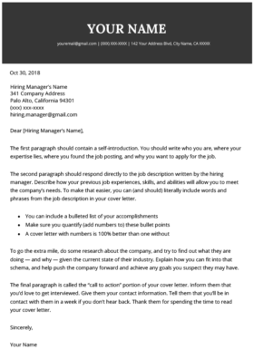 Cover Letter Templates For Your Resume Free Download