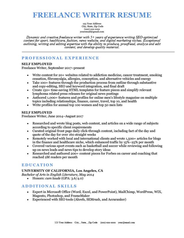 Freelance Writer Resume [Sample & How to Write]  Resume Genius