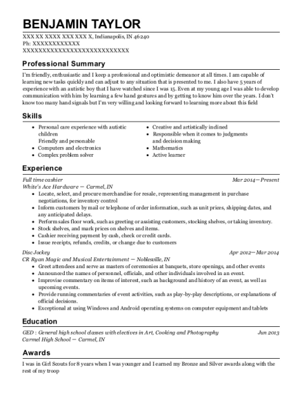 disc jockey resume