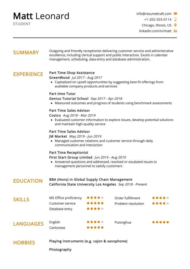 Student Resume Example 22  Writing Tips - ResumeKraft