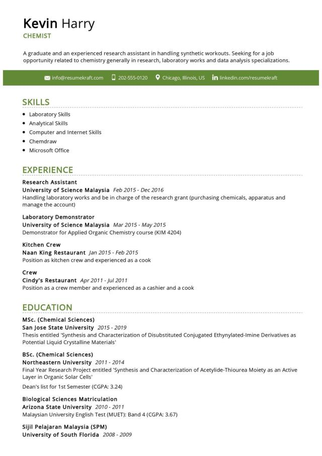 Chemist Resume Example 28  Writing Guide & Tips - ResumeKraft