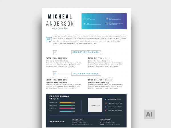 It comes in photoshop psd and illustrator ai formats. Free Resume Templates In Illustrator Format 2021 Resumekraft
