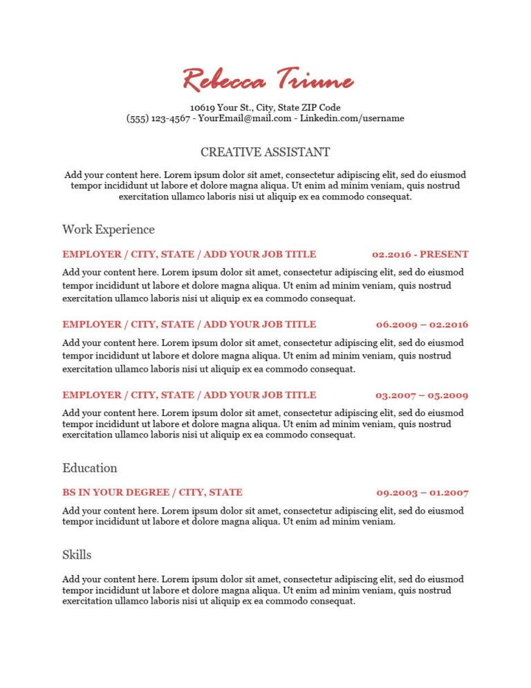 We show you how to format your resume and pick the best template to land the job. Ats Creative Free Resume Template