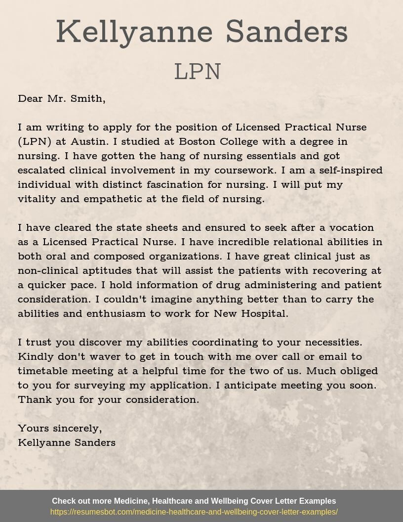 Lpn Cover Letter Example Letter Of Recommendation