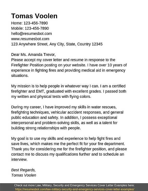 Firefighter Cover Letter Samples Templates Pdf Word 2021 Firefighter Cover Letters Rb