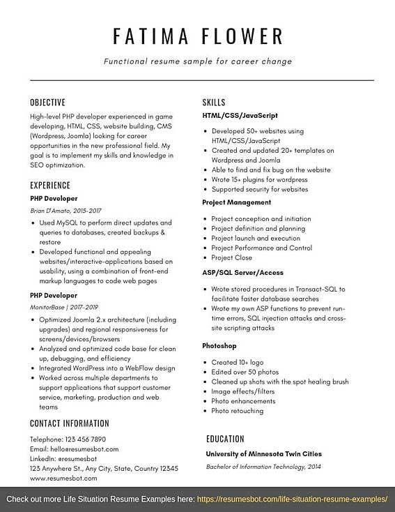 """The best resume format for a career change is the chronological resume (also known as """"reverse chronological resume""""). Functional Resume Sample For Career Change Templates Pdf Word Resumes Bot"""