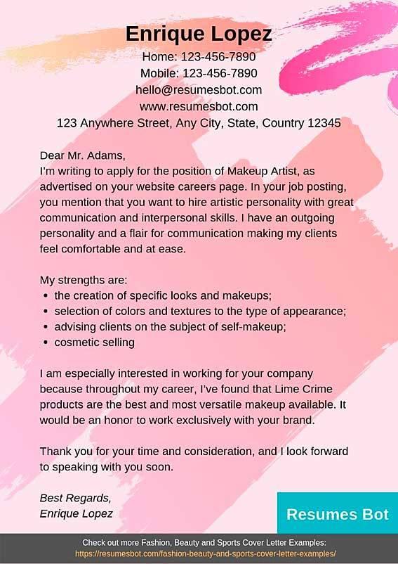 Makeup Artist Cover Letter Samples