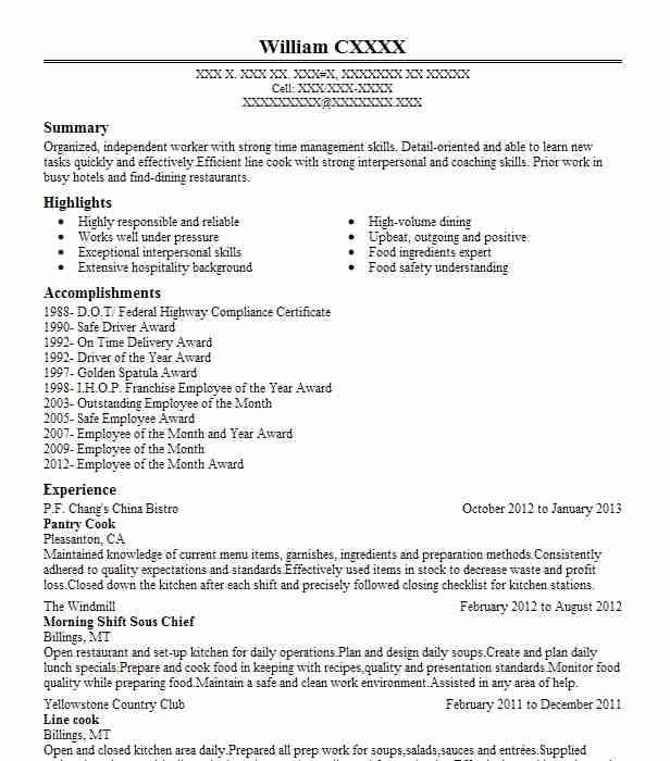 Pantry Cook Resume Example Pf Changs