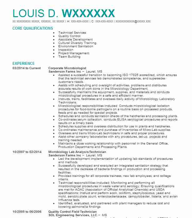 Microbiologist Resume Example Catalent Pharma Solutions
