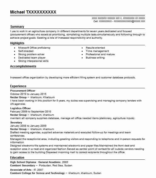 Procurement Officer Resume Sample Resumes Misc Livecareer