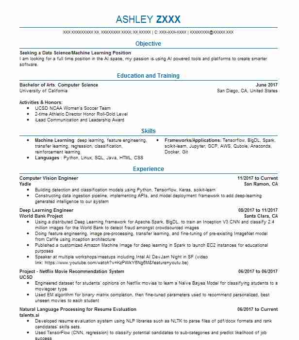 Computer vision engineer 11/2017 to current company name city, state. Computer Vision Engineer Resume Example Company Name Gainesville Florida