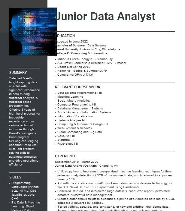 In this guide, i list 20 top resources about junior data scientist resume. Junior Data Analyst Resume Example Company Name Glen Allen Virginia