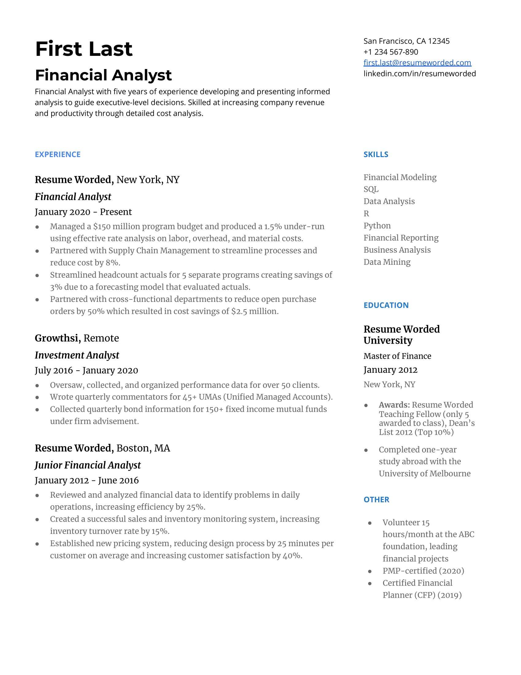 · analysing financial data to draw conclusions and produce forecasts. 6 Financial Analyst Resume Examples For 2021 Resume Worded Resume Worded