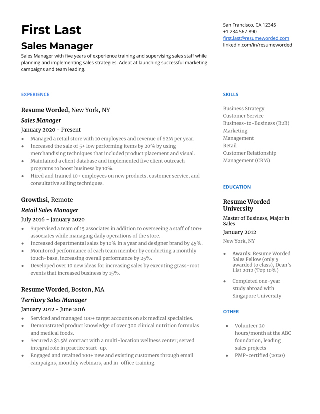 14 Sales Manager Resume Examples for 14  Resume Worded  Resume