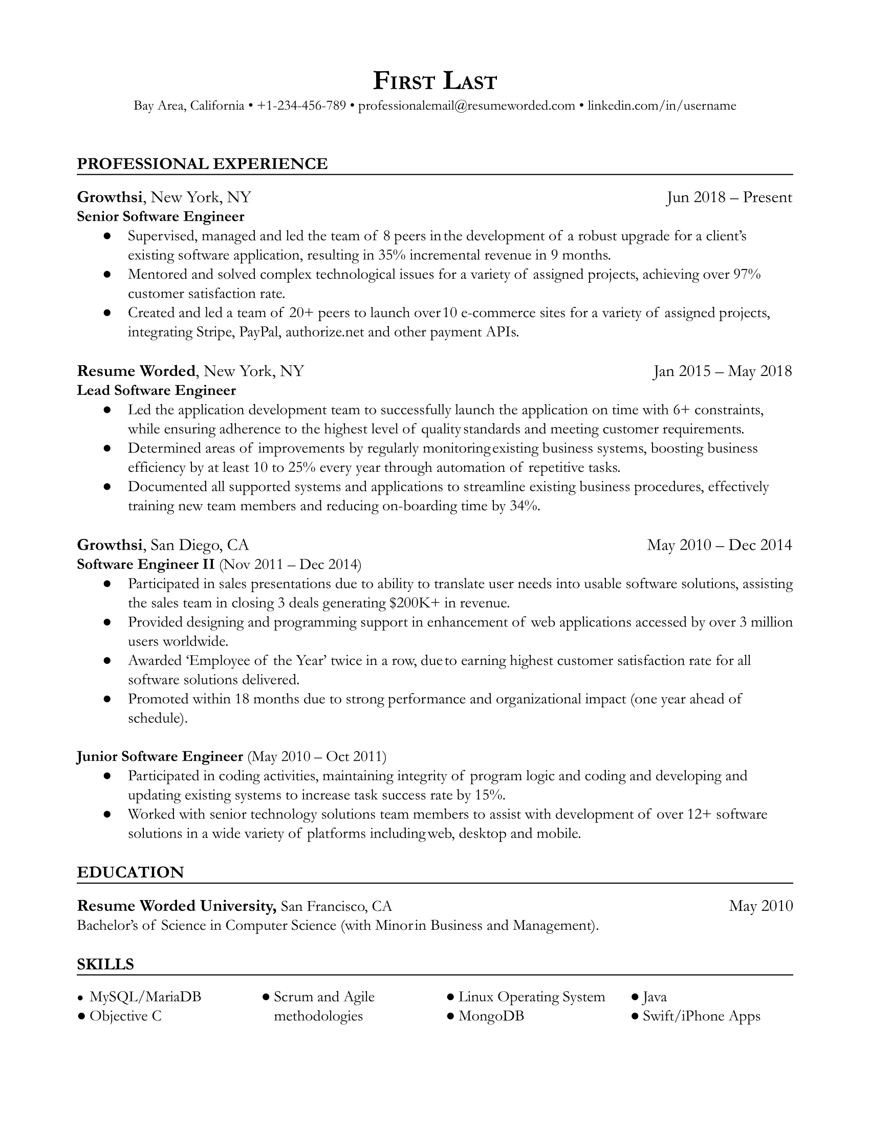 Nick is a web developer, focusing on front end development and ux,. Senior Software Engineer Resume Example For 2021 Resume Worded Resume Worded