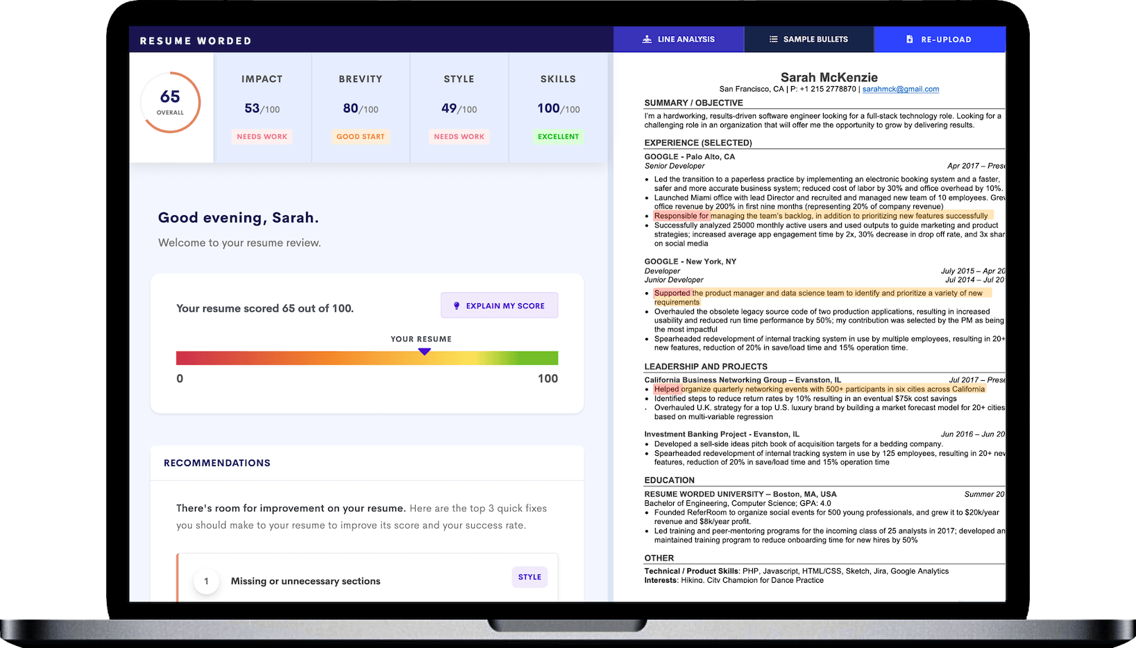 Recruiters and hiring managers spend an average of 6 seconds reviewing a candidate's resume before they make an initial assessment. Resume Scanner Get A Free Ats Resume Scan