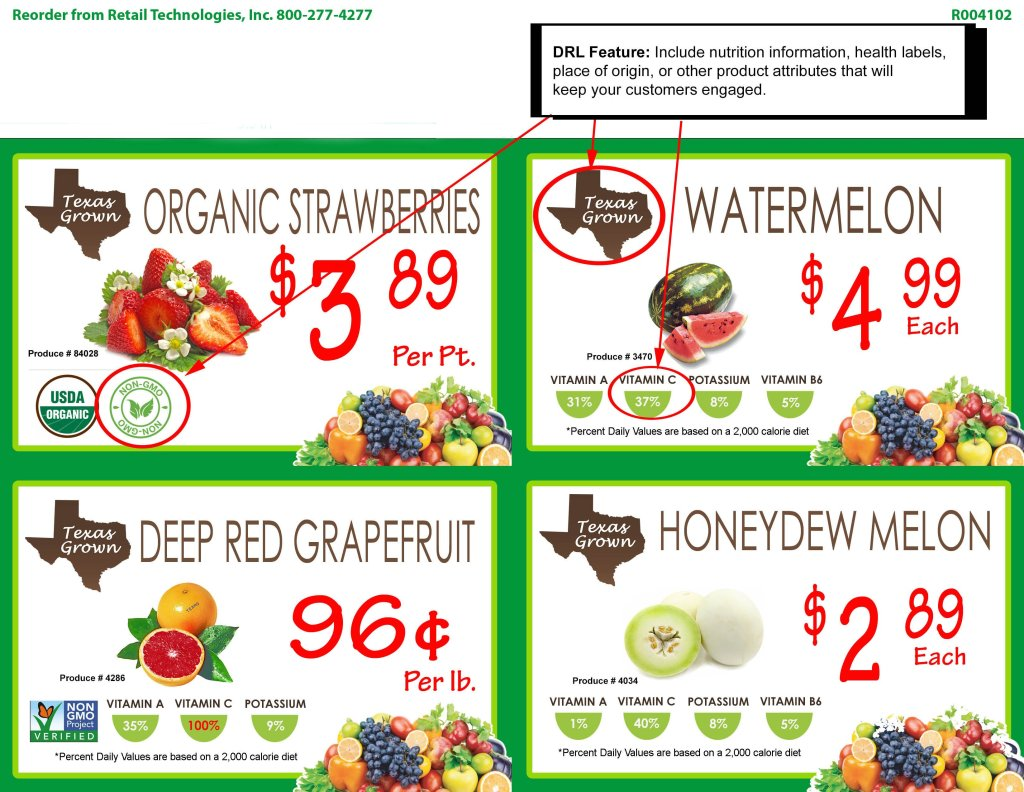 Produce signs created with DESIGN-R-LABELS