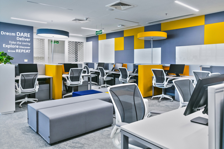 , General Electric Sustainable Healthcare Solutions office by YellowSub Studio, Bangalore – India, Office Furniture Dubai | Office Furniture Company | Office Furniture Abu Dhabi | Office Workstations | Office Partitions | SAGTCO