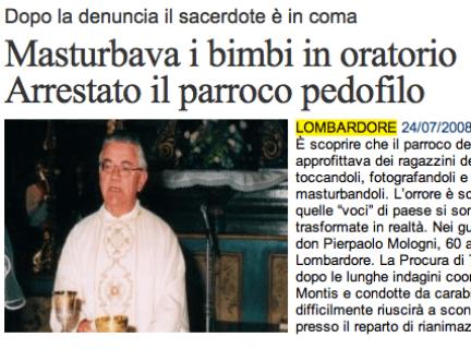 Lombardore: Don Pierpaolo Mologni accusato di pedofilia, migliaia di foto nel pc