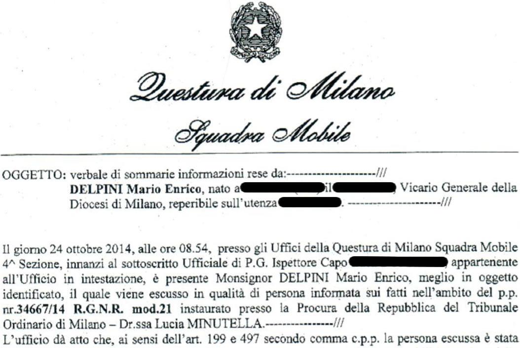Le menzogne della diocesi di Milano sul caso che coinvolge monsignor Mario Delpini