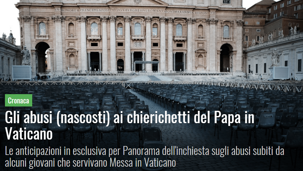 Gli abusi (nascosti) ai chierichetti del Papa in Vaticano