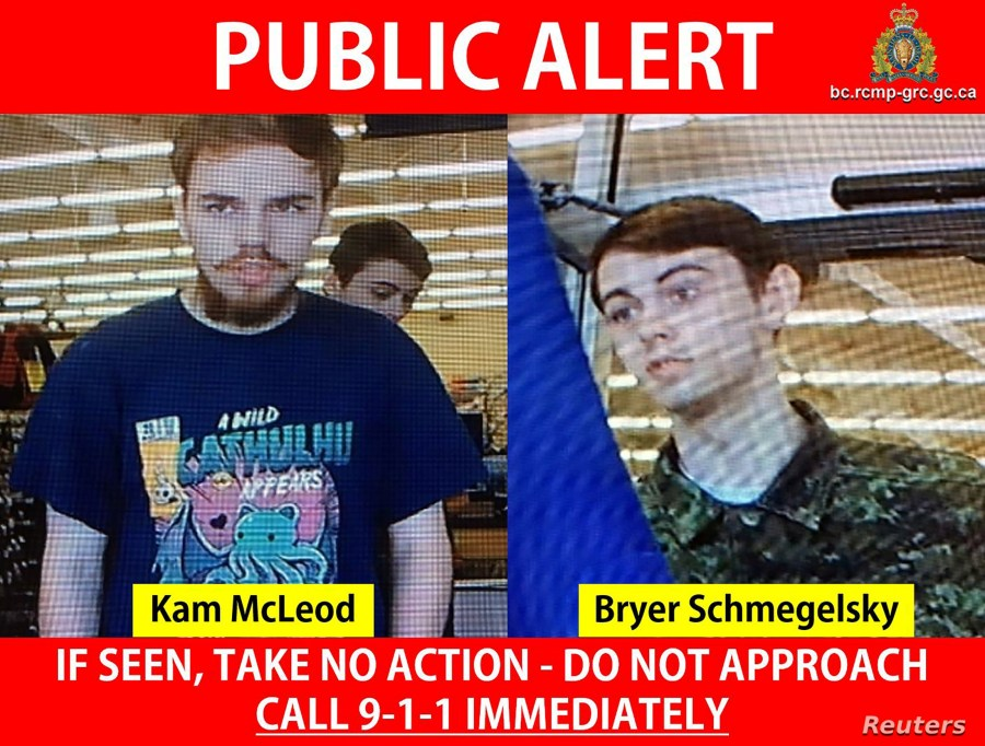 Kam McLeod, 19, and Bryer Schmegelsky, 18, from Port Alberni, named as suspects in the deaths of three people in Canada, are seen in undated CCTV footage on a public alert issued by the Royal Canadian Mounted Police (RCMP) July 23, 2019.