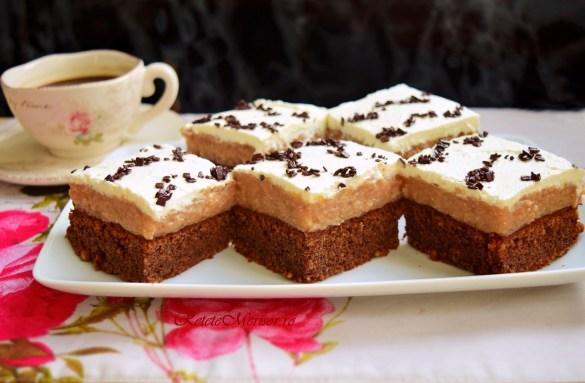 Brownie cu cremă de mere și frișcă